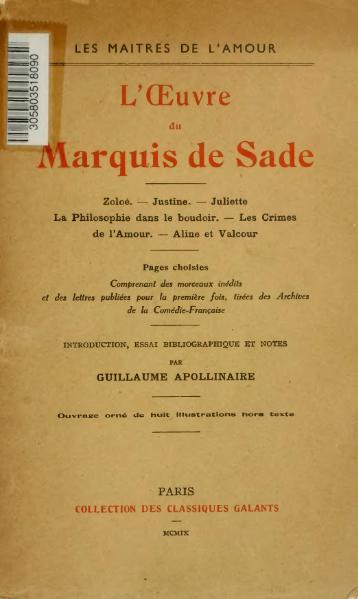 File:Sade - L'Œuvre, éd. Apollinaire, 1909.djvu