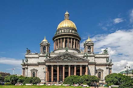 The neoclassical Saint Isaac's Cathedral in Saint Petersburg Saint Isaac's Cathedral in SPB.jpeg