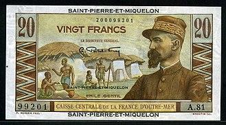 Saint Pierre and Miquelon franc - Saint Pierre and Miquelon 20 Francs banknote