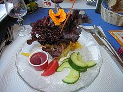 Decorated green salad