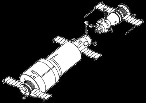 Salyut 1 and Soyuz drawing