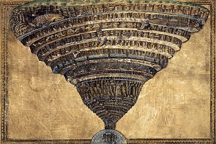 The Abyss of Hell, coloured drawing on parchment by Sandro Botticelli (1480s) Sandro Botticelli - The Abyss of Hell - WGA02853.jpg