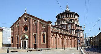 Santa Maria delle Grazie (Milan) - Holy Mary's facade, in the background its dome, made by Bramante