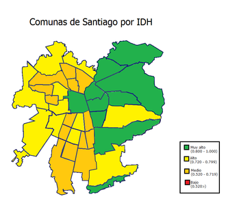 Santiago by Human Development Index on a commune-basis. SantiagoIDHcomunas.png