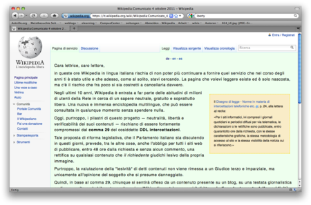 Screenshot italian wikipedia