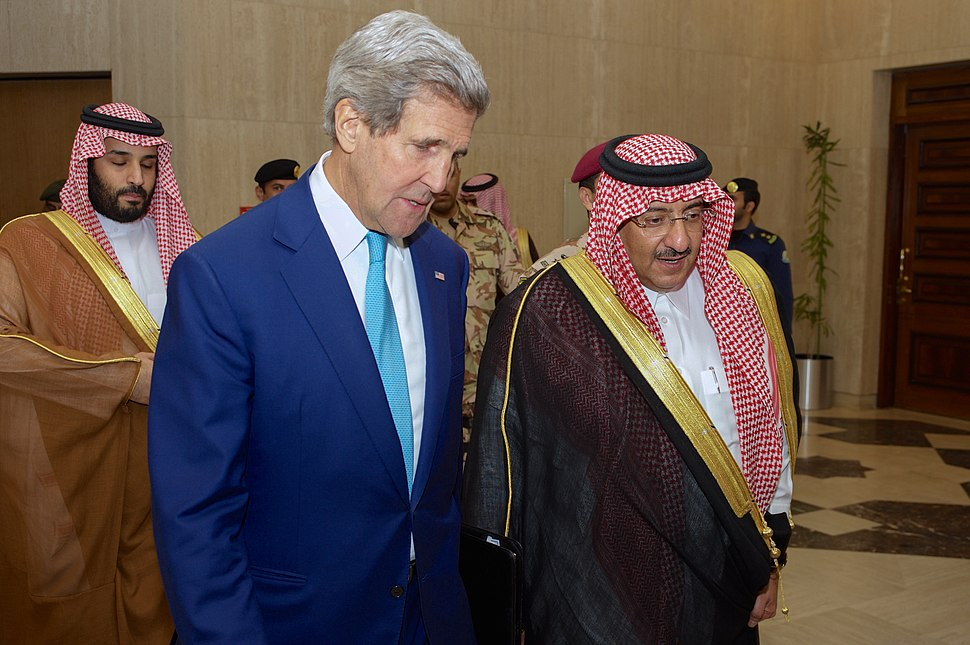 Secretary Kerry Walks with Crown Prince Mohammed bin Nayef Upon Arriving at the Saudi Ministry of Interior in Riyadh (17188246737).jpg