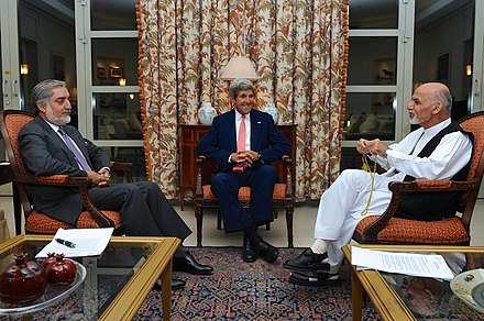 From left to right: Abdullah Abdullah, John Kerry and Ashraf Ghani during the 2014 presidential election Secretary Kerry meets Abdullah and Ghani 2014.jpg