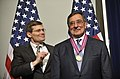 Secretary of Defense Leon E. Panetta receives the first awarding of the Director's Distinguished Service Medal from CIA Acting Director Michael Morell as he pay's one final visit to the CIA.jpg