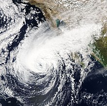 Tropical Storm Sergio approaching the Baja California Peninsula on October 11