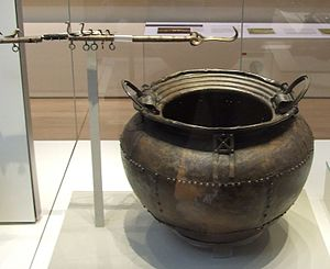 Cauldron - A Bronze Age cauldron made from sheet bronze and a flesh-hook
