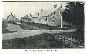 Sheffield Mills, Nova Scotia - Sheffield Mills station and apple warehouses, circa 1931