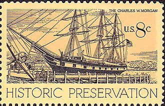 Charles W. Morgan (ship) - 1971 U.S. commemorative stamp honoring Charles W. Morgan by Melbourne Brindle