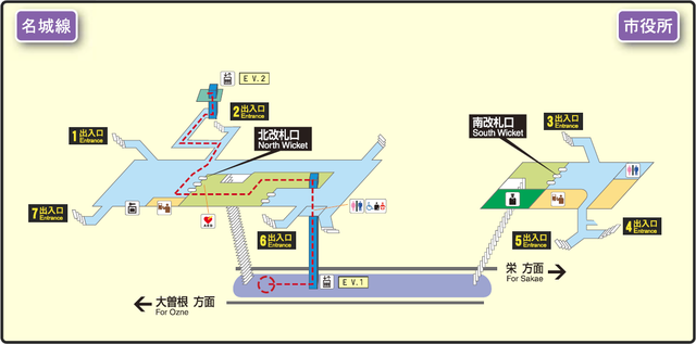 Shiyakusho station map Nagoya subway's Meijo line 2014.png