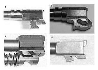 Locked breech - I = Petter-Browning, II = CZ 75, III = HK USP, IV = Glock (Sig Sauer System)