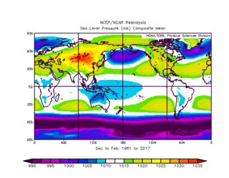 Siberian High - The plot of mean sea level pressure over the winter months shows a large area of high atmospheric pressure in the South of Siberia.