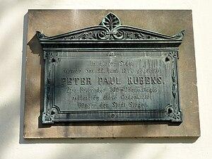 Maria Pypelinckx - 1877 plaque in Siegen commemorating the birth of Rubens three centuries before