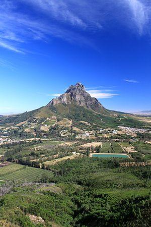Simonsberg - view from the Drakenstein mountain above Kylemore