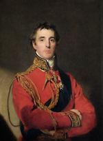 Painting shows a solemn, dark haired man with his arms folded. He wears a red military uniform with a high collar and loops of gold lace.