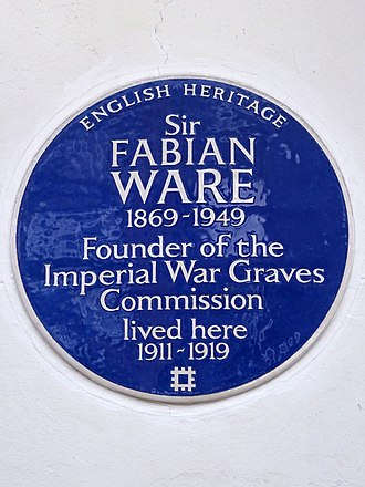 Fabian Ware - Blue plaque marking Ware's residence at 14 Wyndham Place, Marylebone