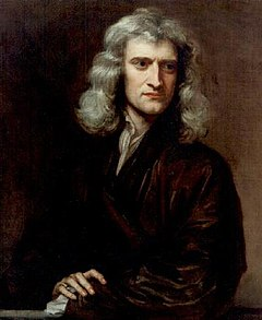 portrait of Isaac Newton with long hair looking left