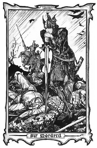 King Arthur - Mordred, Arthur's final foe according to Geoffrey of Monmouth, illustrated by H. J. Ford (1902)
