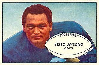 Sisto Averno - Averno on a 1953 Bowman football card