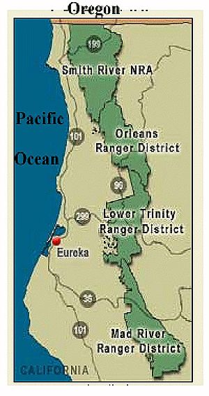 Map of Six Rivers National Forest