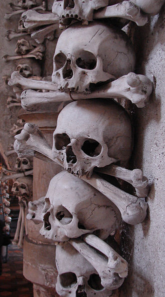 Skull and crossbones (symbol) - The skull-and-crossbone symbol depicts the typical arrangement of skulls and humeri in ossuaries, as in the example above from Sedlec (Czech Republic).