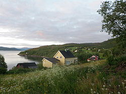 The village of Skjerstad,viewed from Skjerstad Church