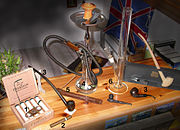 Various smoking equipment including different pipes.