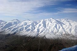 Snow-covered mountains in Ghazni province