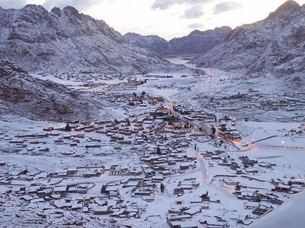 Saint Catherine in southern Sinai, on a snowy winter morning. Snow in St. Katherine, Sinai Egypt - March 1, 2009.jpg