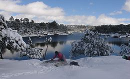 Snowy landscape at Lake Arareco in the Tarahumara Mountains (Chihuahua, Mexico)