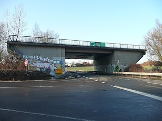 Bridge to nowhere - A highway bridge near Castrop-Rauxel, Germany -  built 1978 but not connected on either end