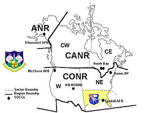 Southeast Air Defense Sector - SEADS Region shown in NORAD Region/Sector Configuration, 1987-2005