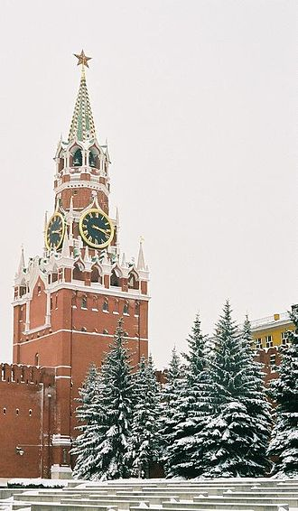 Moscow Kremlin Wall - The famous Spasskaya Tower, with its ruby star added in 1937.