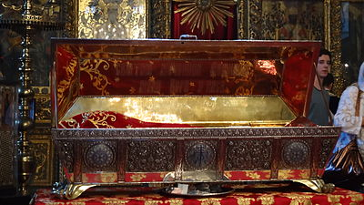 Russian-made reliquary of Saint Euphemia in the Church of St. George in Istanbul. St. Euphemia Reliquary.JPG