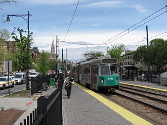 "Green Line ""C"" Branch - An outbound train at St. Marys Street station"