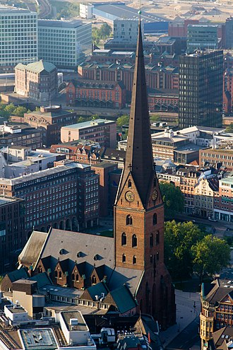 Altstadt, Hamburg - Aerial view of St. Petri