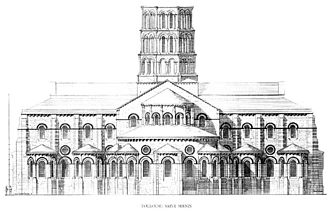 Romanesque architecture - St-Sernin basilica, Toulouse, France: elevation of the east end (1080–1120).