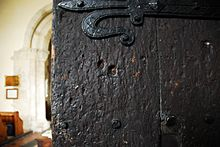Musket holes still visible in the south door of the Church of St. Lawrence