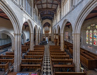 University Church of St Mary the Virgin - Nave viewed in an easterly direction from the gallery, looking towards the chancel.