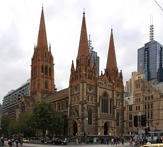 Anglican Church of Australia - St Paul's Cathedral, Melbourne seen from Flinders Street station
