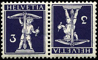Sheet of stamps - Swiss Tête-bêche