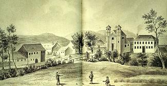 Stara Trnovska cerkev in Ljubljana 1850.jpg