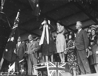 North Coast railway line, New South Wales - Official opening of the Kyogle Interstate Railway Line by Mrs AE Moore, wife of Queensland Premier at South Brisbane