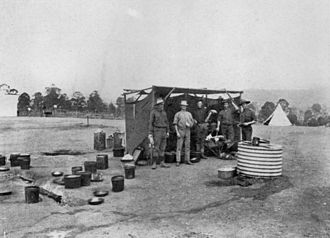 Australian Army Catering Corps - Camp kitchen with the 2nd Light Horse Regiment, Queensland, 1914