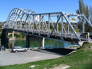 Alexandra, New Zealand - The 1958 steel truss arch bridge carrying State Highway 8 across the Clutha River at Alexandra