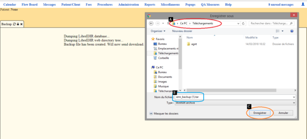Windows explorer showing users how to locate the directory on their computers the backup file to be saved