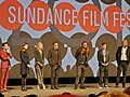 Steven Yeun, Astrid Bergès-Frisbey, Brit Marling, Michael Pitt, and Mike Cahill (12026126693).jpg